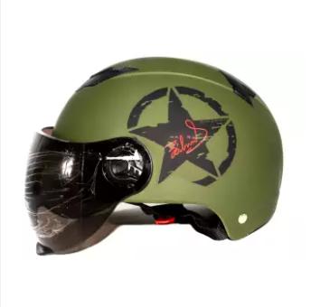 Summer half Star Design Motorbike Helmet for Men or Women-Battle Oilve